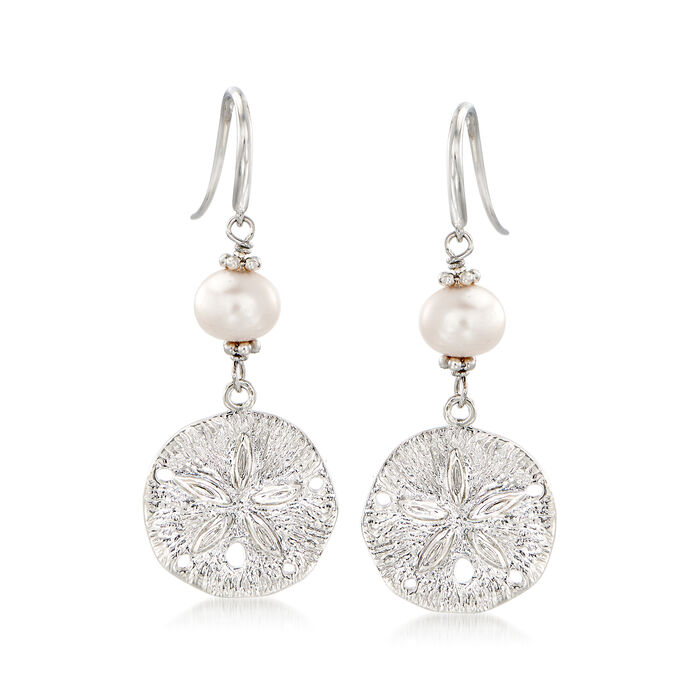 6.5-7.5mm Cultured Pearl and Sterling Silver Sand Dollar Drop Earrings , , default