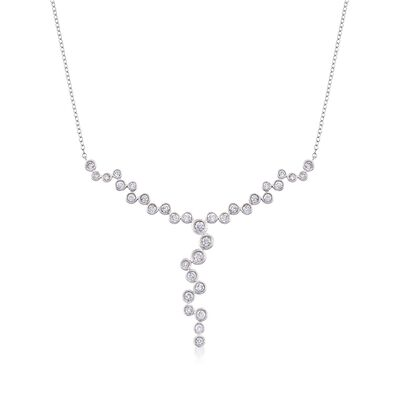 1.00 ct. t.w. Bezel-Set Diamond Y-Necklace in 14kt White Gold