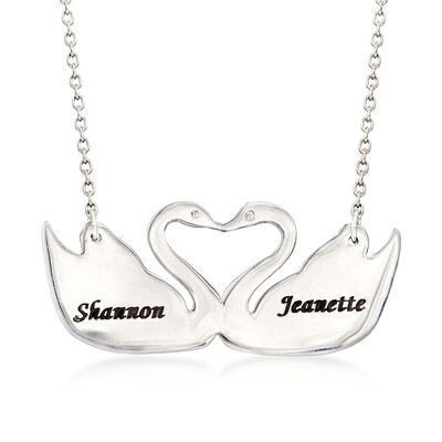 Sterling Silver Two Name Swan Necklace, , default