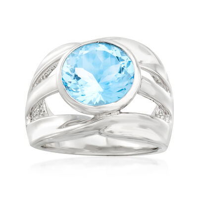 5.75 Carat Sky Blue Topaz Open-Space Ring in Sterling Silver