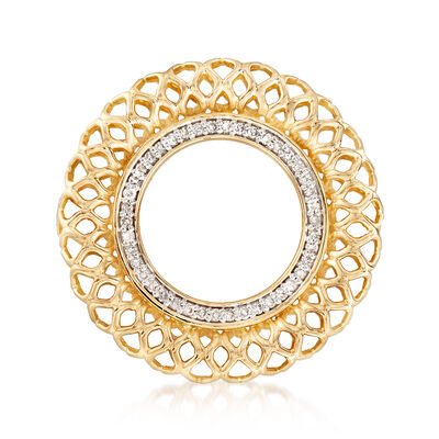 .16 ct. t.w. Diamond Openwork Circle Pin in 14kt Yellow Gold