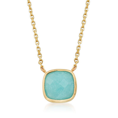 Italian Amazonite Necklace in 14kt Yellow Gold, , default