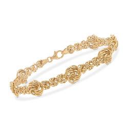 Italian 18kt Yellow Gold Rosette Link Bracelet, , default