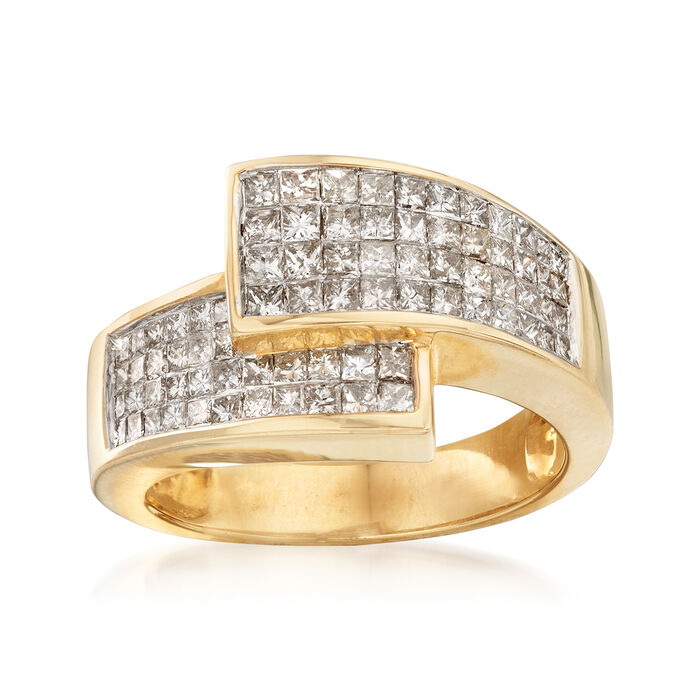 C. 1980 Vintage 1.55 ct. t.w. Diamond Crossover Ring in 14kt Yellow Gold. Size 5.5, , default