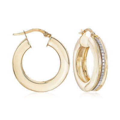 Italian Hoop Earrings with Glitter in 14kt Yellow Gold, , default