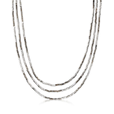 Sterling Silver Three-Strand Bead Necklace, , default