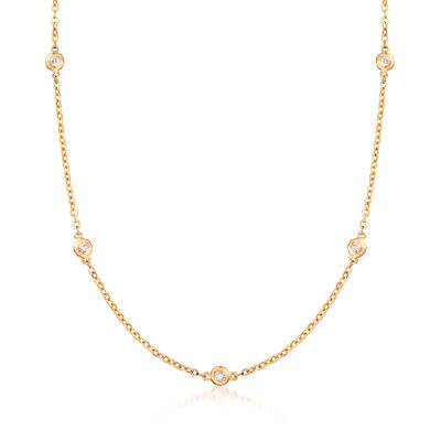 C. 1990 Vintage .15 ct. t.w. Diamond Bezel-Set Station Necklace in 14kt Yellow Gold, , default