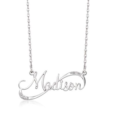 Sterling Silver Swirling Script Name Necklace with Diamond Accents, , default