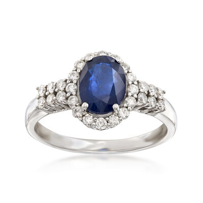 1.30 Carat Sapphire and .33 ct. t.w. Diamond Ring in 14kt White Gold, , default