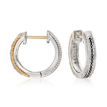 """Andrea Candela """"Mantilla"""" Sterling Silver and 18kt Yellow Gold Huggie Hoop Earrings with Diamond Accents. 1/2"""", , default"""