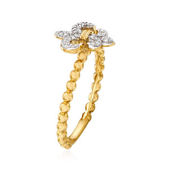 .10 ct. t.w. Diamond Fleur-De-Lis Beaded Ring in 14kt Yellow Gold