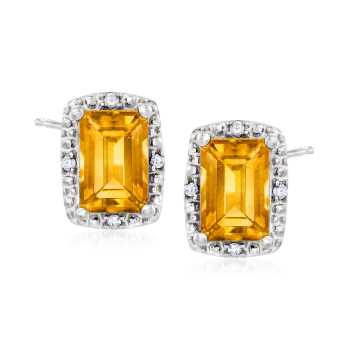 1.10 ct. t.w. Citrine Stud Earrings with Diamond Accents in Sterling Silver