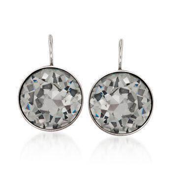 """Swarovski Crystal """"Bella"""" Black Crystal Drop Earrings in Silvertone, , default"""