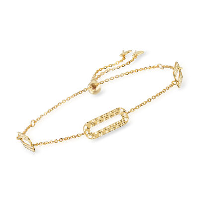 Italian 14kt Yellow Gold Paper Clip Link Bolo Bracelet, , default