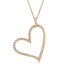C. 1990 Vintage 1.70 ct. t.w. Diamond Heart Pendant Necklace in 14kt Yellow Gold, , default