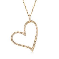 C. 1990 Vintage 1.70 ct. t.w. Diamond Heart Pendant Necklace in 14kt Yellow Gold, , default