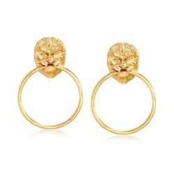 Italian 18kt Yellow Gold Over Sterling Silver Lion Head Doorknocker Earrings, , default