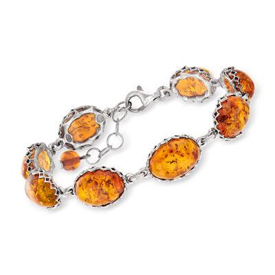 Amber Link Bracelet in Sterling Silver, , default