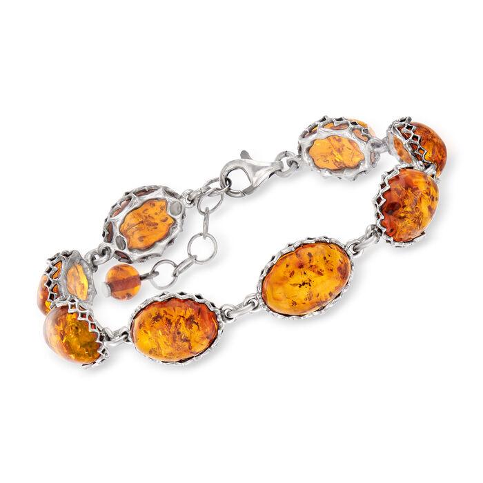 """Amber Link Bracelet in Sterling Silver. 7"""", , default"""