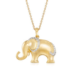 "18kt Gold Over Sterling Silver Elephant Pendant Necklace With Diamond Accent. 18"", , default"