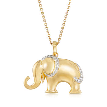 """18kt Gold Over Sterling Silver Elephant Pendant Necklace With Diamond Accent. 18"""", , default"""
