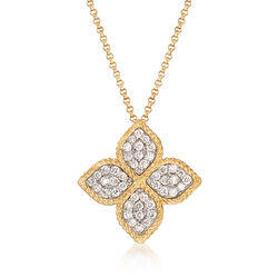 """Roberto Coin """"Princess"""" .45 ct. t.w. Diamond Flower Necklace in 18kt Yellow Gold, , default"""