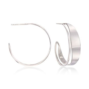 "Italian Sterling Silver Cutout Hoop Earrings. 1 1/4"", , default"