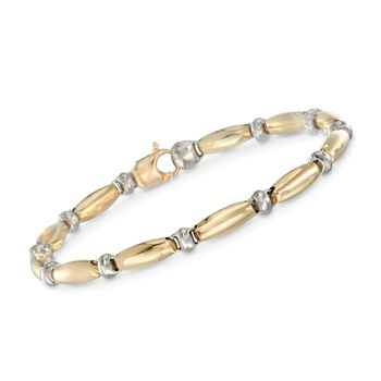 "18kt Two-Tone Gold Scalloped Link Bracelet. 7.5"", , default"