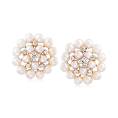 3.5-4mm Cultured Freshwater Pearl Cluster Earrings with .26 ct. t.w. Diamonds in 14kt Yellow Gold