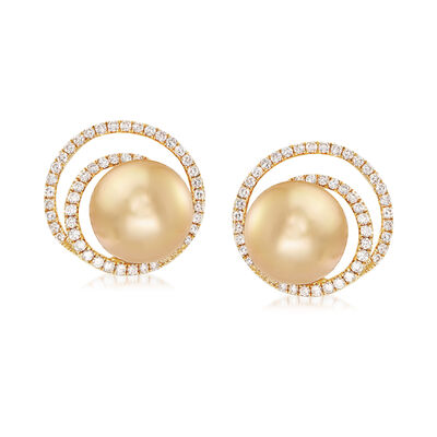 11mm Cultured Golden South Sea Pearl and .80 ct. t.w. Diamond Swirl Earrings in 18kt Yellow Gold, , default