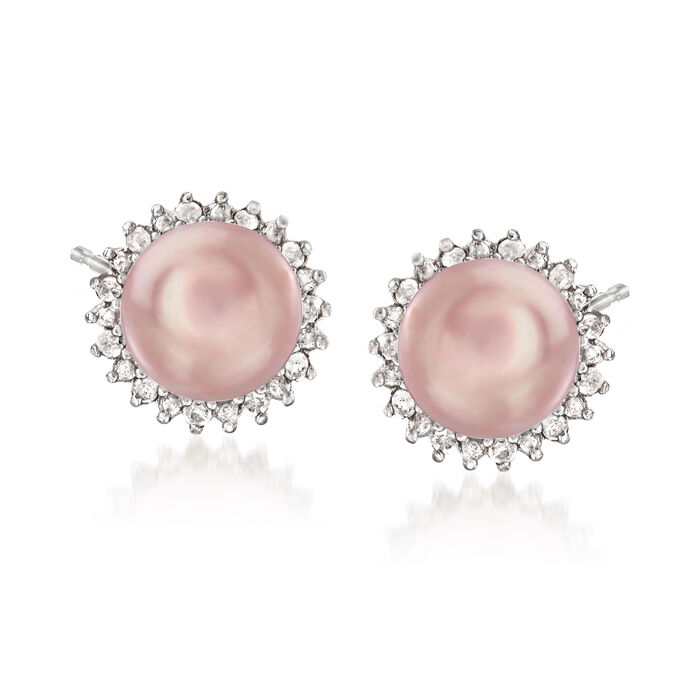 7-7.5mm Pink Cultured Pearl and .13 ct. t.w. Diamond Earrings, , default