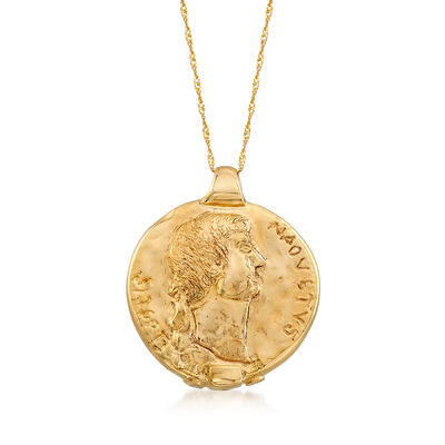 Italian 14kt Yellow Gold Ancient Coin Pendant Necklace, , default