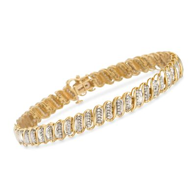 1.00 ct. t.w. Diamond S-Link Bracelet in 14kt Yellow Gold, , default