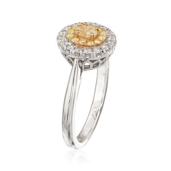 .71 ct. t.w. Yellow and White Diamond Ring in 18kt Two-Tone Gold