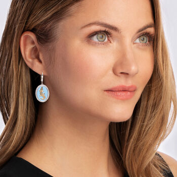 .70 ct. t.w. White Topaz and Blue Enamel Alligator Drop Earrings in Two-Tone Sterling Silver
