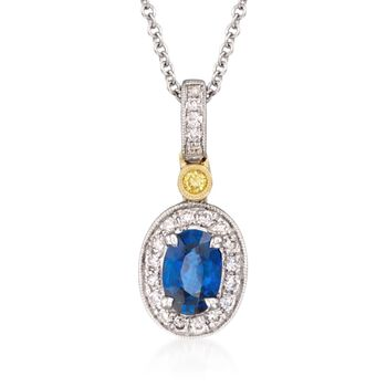 """Simon G. .50 Carat Sapphire and .16 ct. t.w. Yellow and White Diamond Pendant Necklace in 18kt Yellow and White Gold. 18"""", , default"""