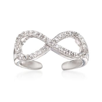 .15 ct. t.w. CZ Infinity Symbol Toe Ring in Sterling Silver, , default