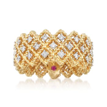 """Roberto Coin """"Barocco"""" .72 ct. t.w. Diamond Ring in 18kt Yellow Gold. Size 7, , default"""