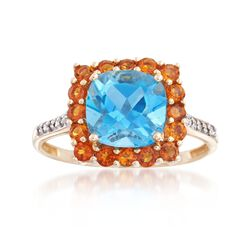 2.60 Carat Blue Topaz and .40 ct. t.w. Orange Citrine Ring With Diamond Accents in 14kt Yellow Gold, , default