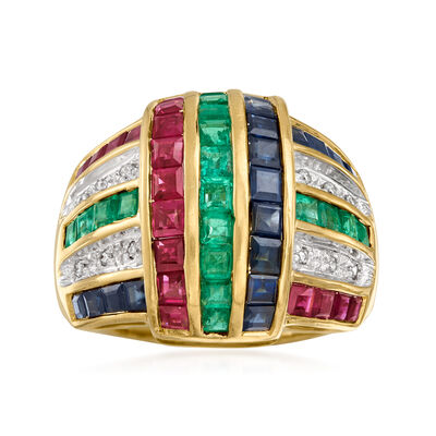 C. 1980 Vintage 3.60 ct. t.w. Multi-Gemstone and .10 ct. t.w. Diamond Ring in 14kt Yellow Gold