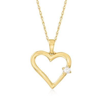 14kt Yellow Gold Open-Heart Pendant Necklace with Diamond Accent