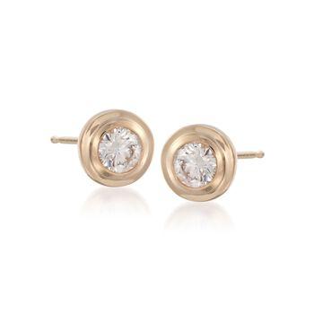 .50 ct. t.w. Double Bezel-Set Diamond Earrings in 14kt Yellow Gold, , default