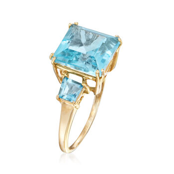 6.30 ct. t.w. Blue Topaz Ring in 14kt Yellow Gold, , default