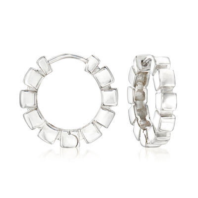 "Zina Sterling Silver ""Ice Cube"" Hoop Earrings, , default"