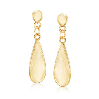 14kt Yellow Gold Elongated Teardrop Earrings, , default