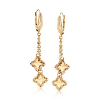 Italian 18kt Yellow Gold Star and Chain Drop Earrings, , default