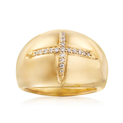 14kt Yellow Gold Dome Ring with Diamond Accents, , default