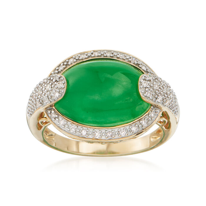 Green Jade and .13 ct. t.w. Diamond Ring in 14kt Yellow Gold. Size 5, , default