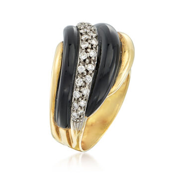C. 1980 Vintage Black Onyx and .50 ct. t.w. Diamond Ring in 18kt Yellow Gold. Size 7.75, , default