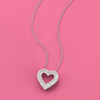 """1.00 ct. t.w. Diamond Open-Space Heart Pendant Necklace in Sterling Silver. 18"""", , default"""